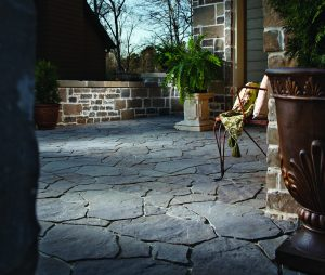New product offering to Belgard Hardscapes, Mega Libre Paver, introduces a random pattern, natural stone appearance to a hardscape project.